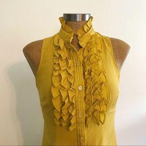 Mustard Yellow Ruffle Sleeveless Blouse